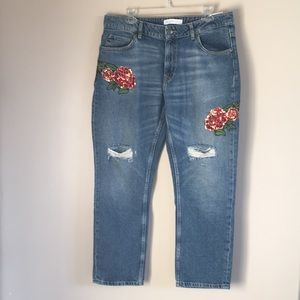 Zara | Relaxed Fit Floral Sequin Distressed Jean